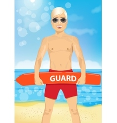 male young lifeguard holding a rescue can vector image vector image