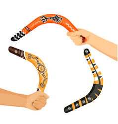painted traditional australian boomerang tools in vector image vector image