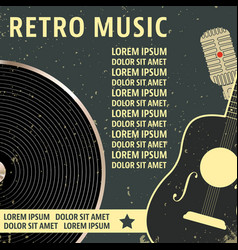 retro music poster template vector image vector image