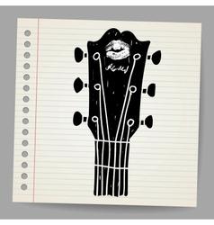 Sketch of an acoustic guitar neck vector