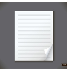 White notebook with lines vector image vector image