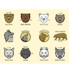 Bear and wolf head animal badge vector image vector image