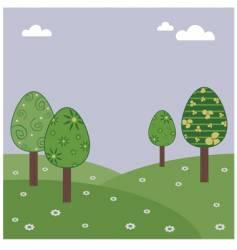 Easter egg landscape vector image vector image