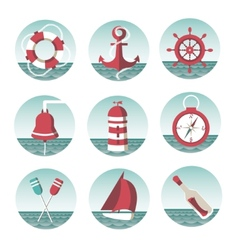 icons on the marine theme vector image