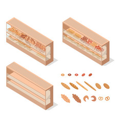 pastries in groceries showcase isometric vector image