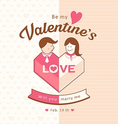 Valentines man and woman love design vector image vector image