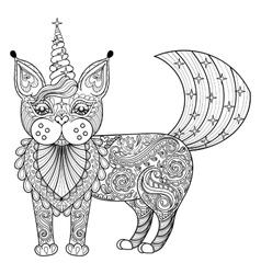 zentangle magic cat unicorn black print vector image