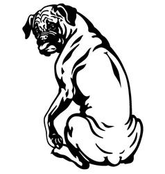 boxer dog black white vector image vector image