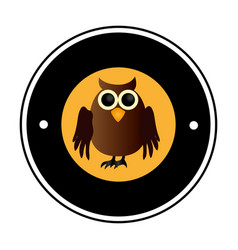 circular frame with halloween owl vector image vector image
