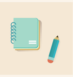 Flat notebook and pencil on soft color background vector