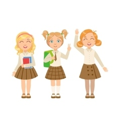 Girls In Brown Skirts Happy Schoolkids In Similar vector image vector image