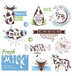 Milk decorative elements vector image vector image