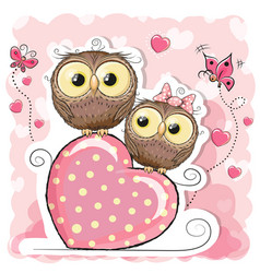 two cute cartoon owls and heart vector image vector image