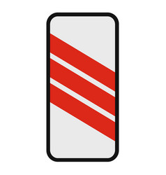 warning of railway icon flat style vector image vector image