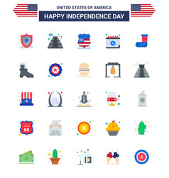 25 flat signs for usa independence day festivity vector