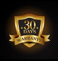 30 days satisfaction guaranteed golden vector