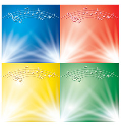 abstract backgrounds with light beams and music vector image