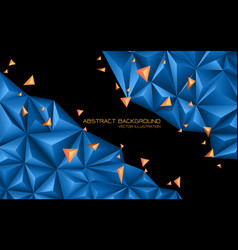 abstract blue orange triangle 3d on black design vector image