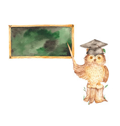 back to school owl teacher with pointer on stump vector image