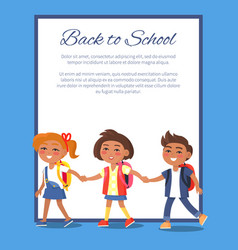 back to school poster with children in clothes vector image