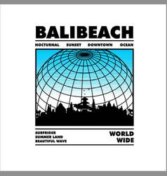 Bali beach worldwide vintage fashion vector