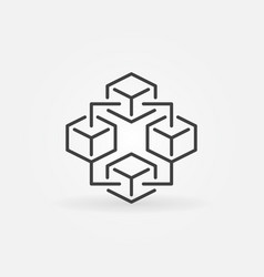 Blockchain technology modern icon - block vector