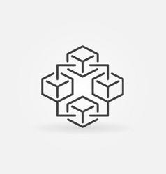 Blockchain technology modern icon - block vector