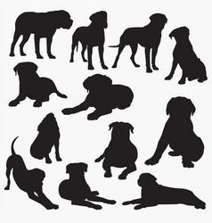 bullmastiff dog silhouettes vector image