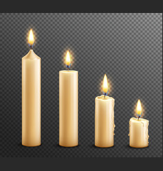 Burning candles realistic transparent background vector