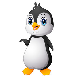 cartoon funny baby penguin vector image