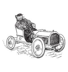 Cat driving vintage vector