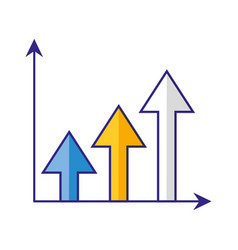 chart arrow growth financial diagram vector image