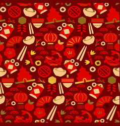 chinese culture icon red gold seamless pattern vector image