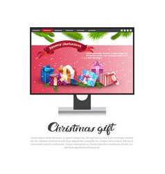 christmas gift concept template poster with vector image