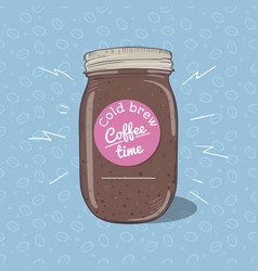 cold coffee or chocolate milkshake in mason jar vector image