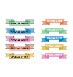 colorful ribbon banner collection trendy flat vector image