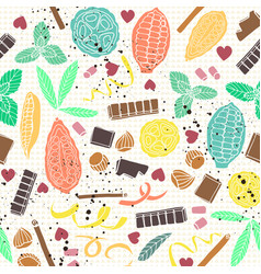 colorful stylized cacao pods with chocolate bars vector image