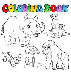 Coloring book zoo animals set 1 vector