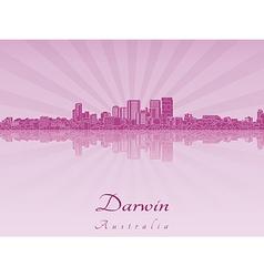 Darwin skyline in purple radiant orchid vector