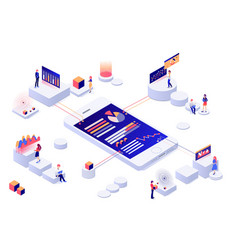 data visualization 3d isometric concept vector image