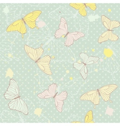 Delicate seamless pattern with butterflies vector