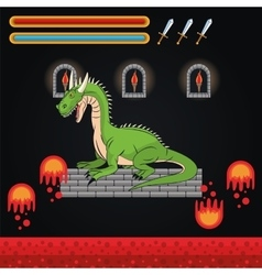 Dragon and videogame design vector