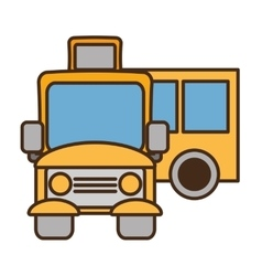 Drawing yellow school bus transport pupils vector