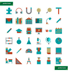 education and learning flat icons set vector image