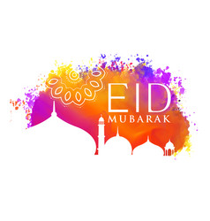 eid mubarak watercolor background with mosque vector image