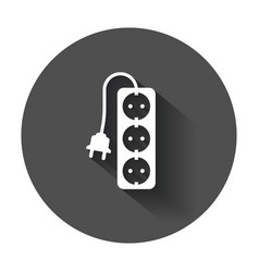 Extension cord icon electric power socket flat vector