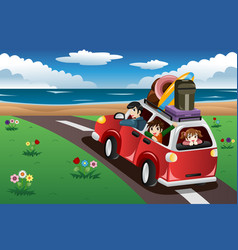 Family going on a beach vacation vector