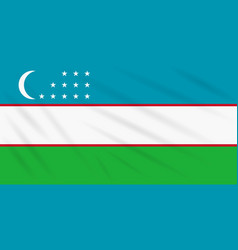 Flag uzbekistan swaying in wind realistic vector