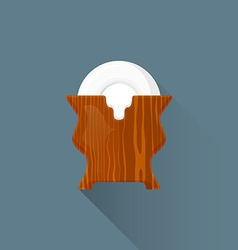 Flat asian tea saucers stand icon vector