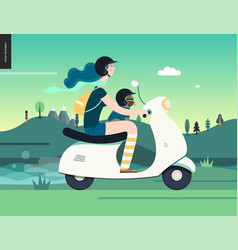 girl on a scooter vector image